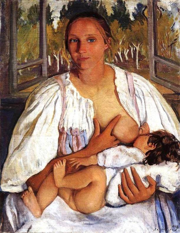 zinaida serebryakova,1912_süt-anne-ve-bebek